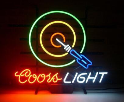 "Coors Light Arrow Target Neon Sign Light Custom Handmade Real Glass Tube Pub Beer Bar Motel Hotel Store Display Neon Signs 17""X14"""