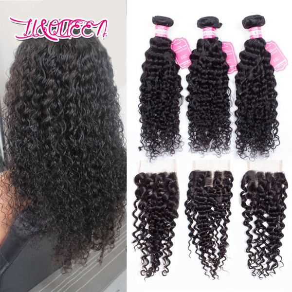 Human hair Deep wave 4x4 lace closure with 3 bundles Mongolian Natural color Bundles with closure Deep wave Full density Free shipping