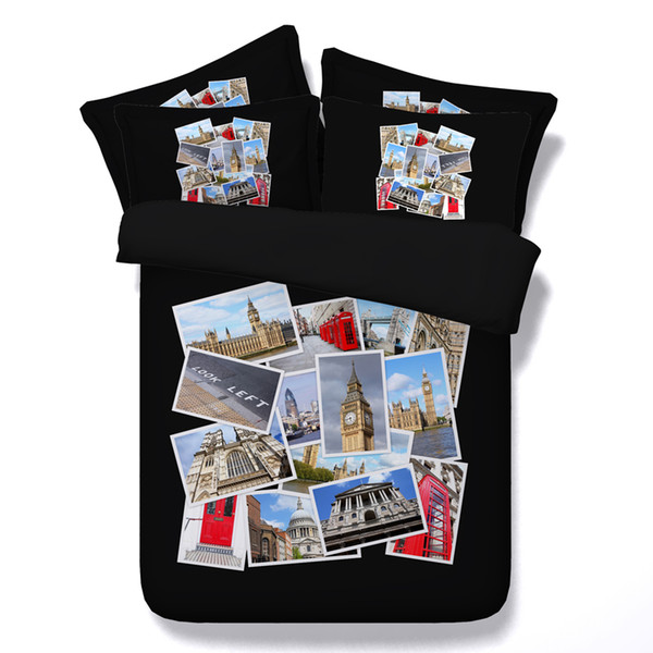 2 Styles Travel Photos 3D Printed Bedding Sets Twin Full Queen King Size Bedspreads Bedclothes Duvet Covers Different Buildings Castle3/4PCS