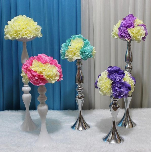 Upscale Wedding Candle Holder 30/35/45cm/110cm silver plated Romantic Standing Wedding Candlestick Wedding Flower Stands Silver Candelabra