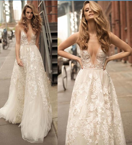 861970322a2b Boho Beach Lace Wedding Dresses 2017 Summer Berta Bridal Gowns Sexy  Backless A Line Floral Long
