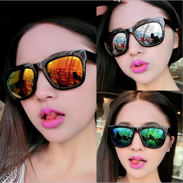 best selling Hot Sales Women Ladies Fashion Sunglasses Summer Color Film Reflective Oversized PC UV Sun glasses Free Shipping