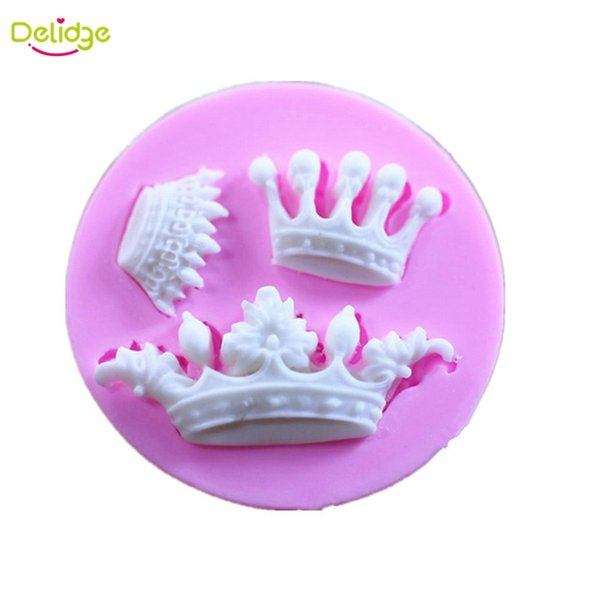 Delidge 20 pcs 3 Small Crown Cake Mold Silicone 3D Crown Design Fondant Molds Handmade Baking Crown Cake Decoration Moulds Tools