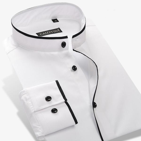 Al por mayor-Camisa de cuello Mandarín de los hombres 100% algodón de manga larga Slim Color sólido para hombre de negocios Casual Camisas de vestir