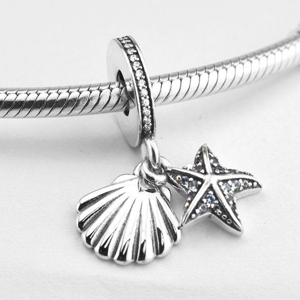 5 pcs/lot Starfish Sea shell charms pendants 925 sterling silver fits pandora style bracelets 792076CZF H9
