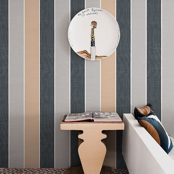 Nordischen Stil Moderne Mode Breite Vertikale Gestreifte Tuch Muster Tapete Wohnzimmer Schlafzimmer Vlies Gedruckt Tapete Blau