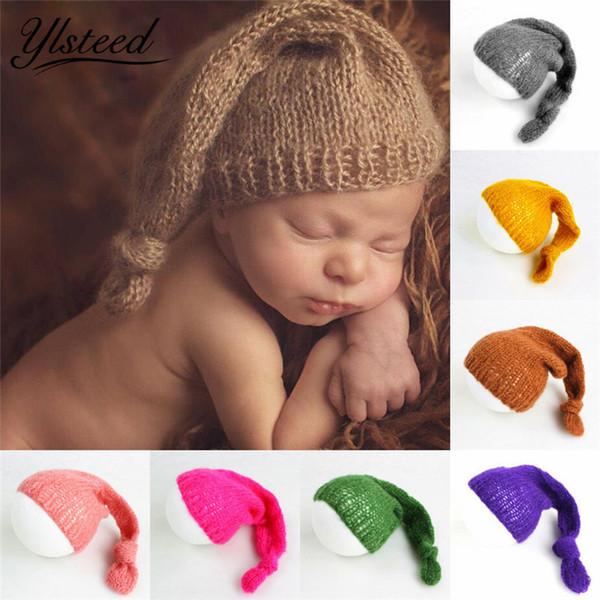 Soft Mohair Baby Hat Newborn Photography Accessories Baby Crochet Knot Cap Infant Photography Props Casquette Enfant Fotografia