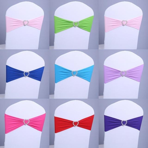 2017 Free Shipping Spandex Lycra Chair Sashes for Wedding Elastic Satin Chair Bands with Buckle Bows Wholesale 100psc