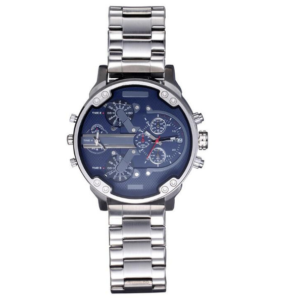 zichen080514 / Fashion Brand Men's Big Case Mutiple Dials stainless steel band Date Quartz Wrist Watch 7314