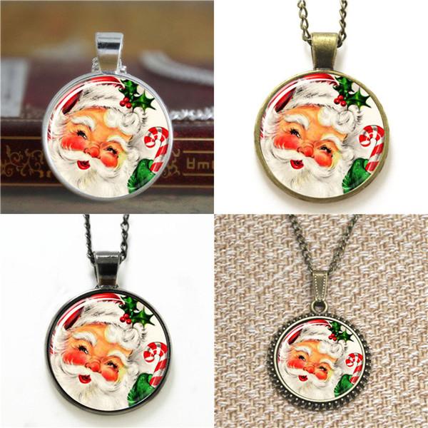 10 pcs Santa Claus Vintage Noël Santa pendentif en verre Photo Collier porte-clés signet bouton de manchette boucle d'oreille bracelet