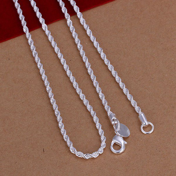 925 Sterling Silver Twisted Rope Chain Necklace Fashion Jewelry,2018 2MM New Hot Piercing 925 Silver Necklace for Women Men XMAS Fine CN226