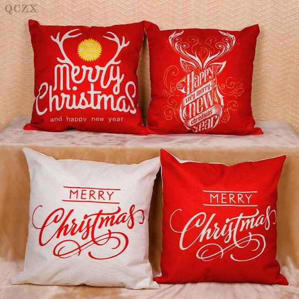 Qczx 3Pcs Fashion Linen Pillowcase Cushions Set Christmas Pillow Pillow Case Cover Bed Pillowcase Square 45X 45Cm D 20