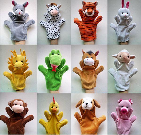 best selling 23*13cm Big Zodiac animal hand puppet doll storytelling for children in kindergarten 12 zodiac plush toys finger even