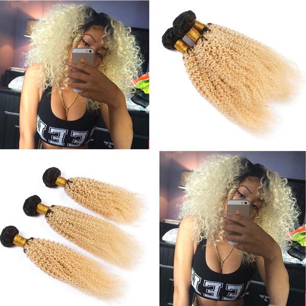 Racine foncée 1B 613 Kinky bouclés cheveux humains tisse deux tons Ombre 1B 613 Afro Kinky Bouclés Brésiliens Vierge Extension de cheveux