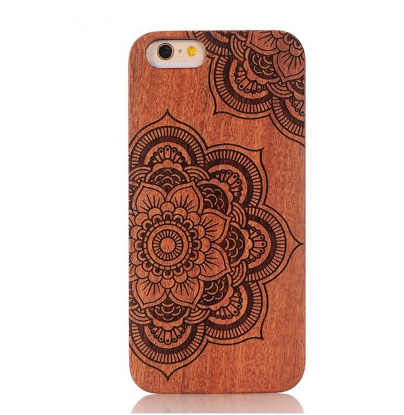 China Nature Wood Bamboo Cell Phone Case Wooden With PC Carved Wood Cases Hard Back Cover For Iphone 5 6 7 6s plus