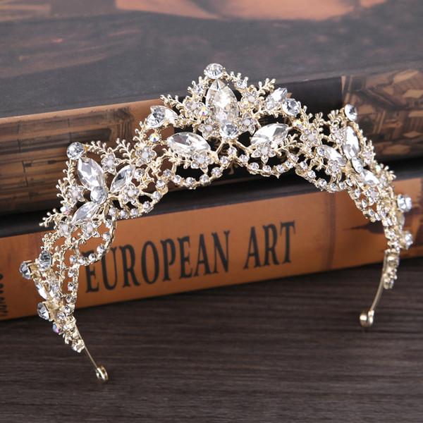 Işık Altın Kristal Gelin Tiara Swarovski Rhinestone Düğün Taç Lüks Düğün Tiara Gelin Başlıklar Saç Aksesuarları