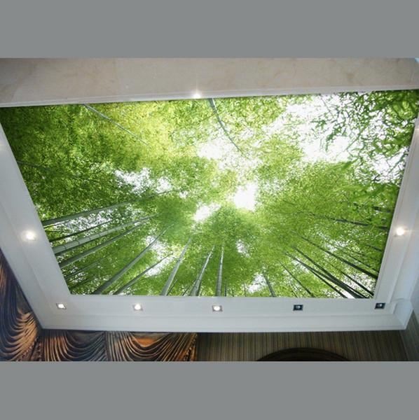 best selling Wholesale-ceiling wallpaper bamboo wallpaper green scenery sky decoration living room custom KTV bar