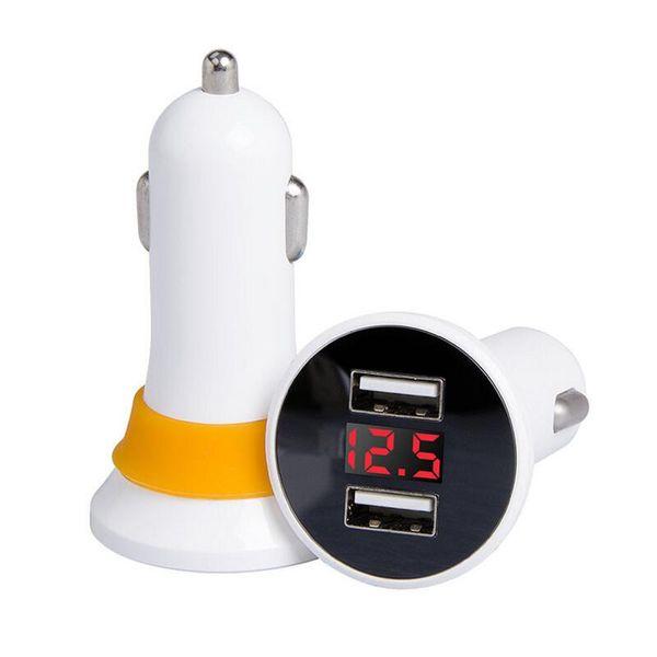 Car Charger 5V 2.1A Quick Charge Dual USB Port LED Display Cigarette Lighter Phone Adapter Car Voltage Diagnostic