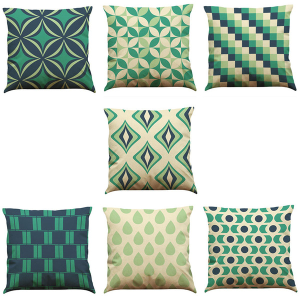 Novelty Geometry Linen Cushion Cover Home Office Sofa Square Pillow Case Decorative Cushion Covers Pillowcases Without Insert(18*18)