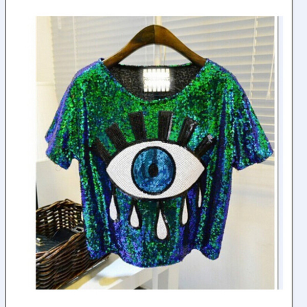 Wholesale- 2016 Free Shipping Sequin Big eyes printed Ds costume performance wear hiphop hip-hop paillette t-shirt short-sleeve tops