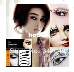 5 paquetes (4 pares / paquete) Tatuajes Delineador de Ojos Diseños Mixtos Tatuaje Temporal Sombra De Ojos Pegatina Belleza Del Ojo Herramientas de Maquillaje