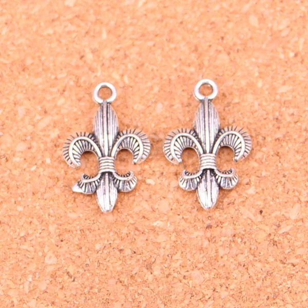 Мода Античное серебро fleur de lis святые подвески металлические подвески для diy ювелирных изделий выводы 23 * 14 мм