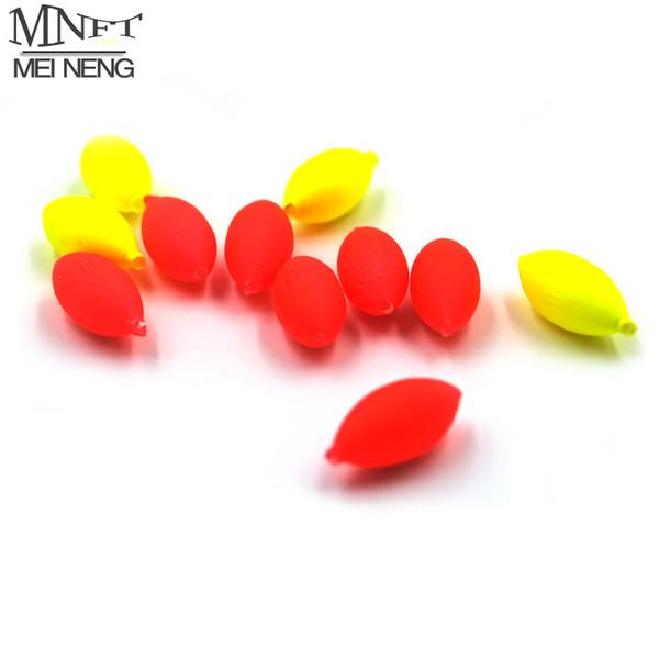 Al por mayor- MNFT 100Pcs Oval Mini flotador de pesca Bobber Rig Fabricación de granos flotantes de pesca rojo / amarillo llamativo con agujero sin tapón 3 4 #