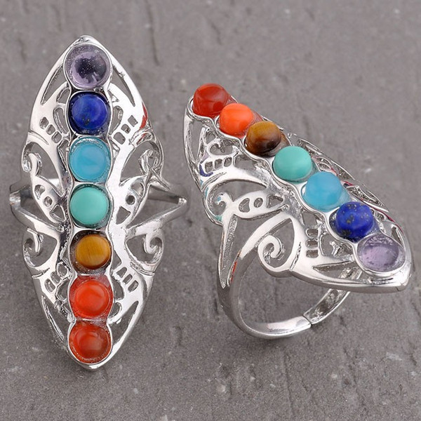 best selling Wedding Rings 7 Chakra Natural Stone Beads Adjustable Ring For Women Charms Amethyst Onyx etc Accessories European Fashion Jewelry