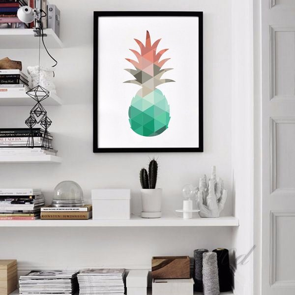 Cartoon Geometric Pineapple Canvas Art Print Poster, Wall Pictures for Home Decoration, Wall Decor