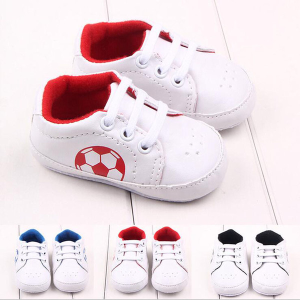 Wholesale- 2017 New PU Leather Infant Toddler Unisex Kids Boys Girls First Walkers Shoes Newborn Baby Football Soft Soled Anti-slip Shoes