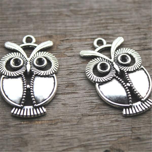12pcs - breloques hibou, chouettes argent antiques tibétains breloques pendentifs, connecteurs hibou 34x22mm