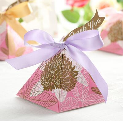 100 Pcs European style blue golden Pearl paper triangle pyramid Wedding box Candy Box gift boxs wedding favour boxes