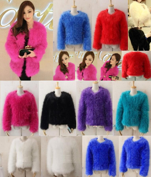 1445d21e701 7 colors fashion sexy Ostrich wool turkey fur 2017 wool coat feather fur  short jacket angelababy