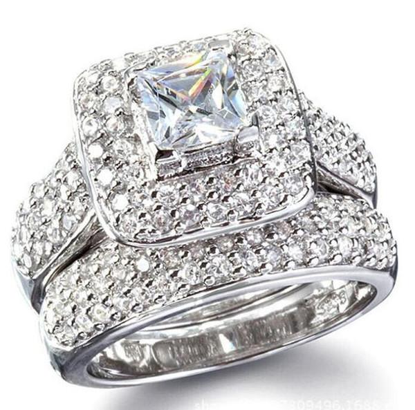 Size 6/7/8/9 Jewelry princess cut 14kt white gold filled full topaz Gem simulated diamond Women Wedding Engagement ring set gift