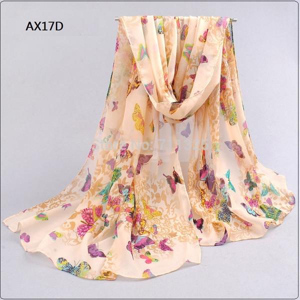 Wholesale-Chiffon Silk Scarf Female Summer Autumn Wrap Long Design Air Conditioning Cape Silk Scarves Shawl AX17