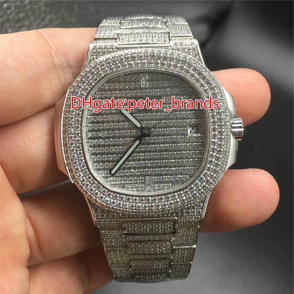 Los raperos de hip hop completamente helados miran los relojes de lujo automáticos de mejor calidad de los hombres de acero inoxidable, caja de diamantes de acero inoxidable de 40 mm