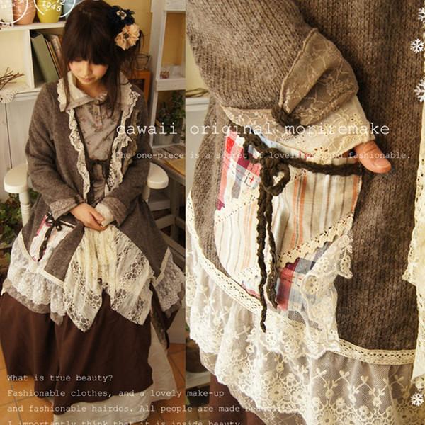 Wholesale- Japanese Autumn Winter Lolita Retro Sweet Lovely Patchwork Lace Princess Sweater Women Mori Girl Knitting Cardigan Shawls A053