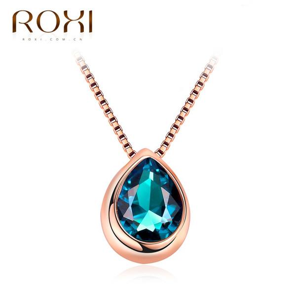 ROXI Collares para Mujeres Rose Gold Colour Water Drop Shape Colgante Blue Quality Quality Glass Stone Chain pingente Female gargantilla