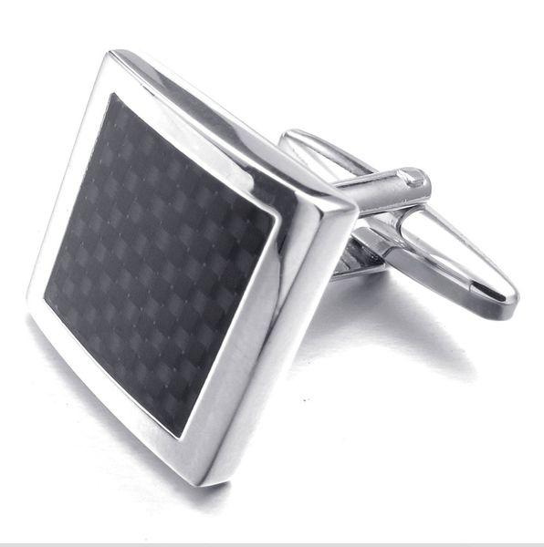 Moda camisa dos homens proteger a fibra de abotoaduras design padrão de alta qualtiy presente cor prata botão vestuário acessório