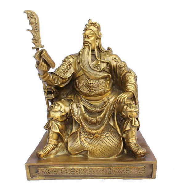 """Chinese bronze brass Dragon Guan Gong/ Yu Reading book Statue 10""""H Gold Color"""