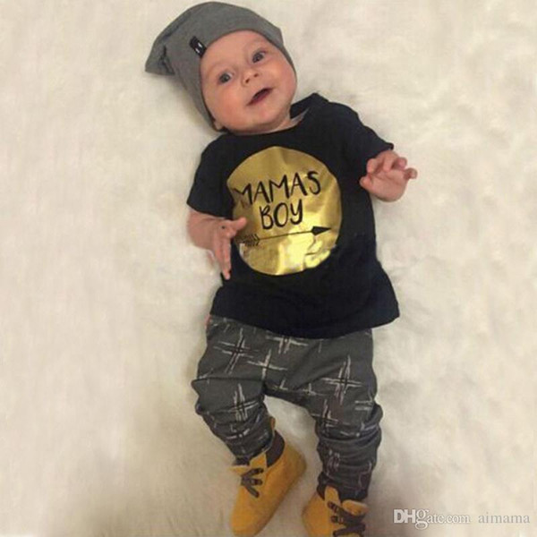 Kids Clothing New Fashion Summer Baby Boys Clothing Set T-shirts Gold Printing 2 Piece Sets With High Quality