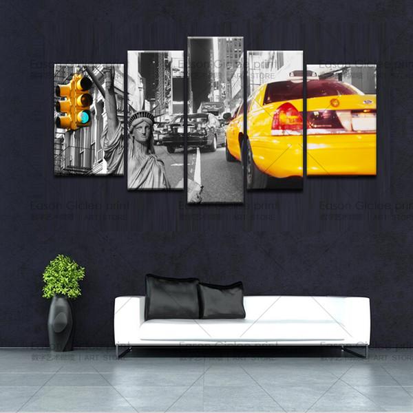 Acheter Vente Chaude 5 Panneau Toile Art New York City Wall Decor Panneaux Muraux Toile Peinture Murale Pour Salon Peinture Sur Toile Pas Cher