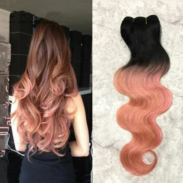 New Sale 9A Rose Gold Ombre Human Hair Extensions 3Pcs Lot Two Tone 1B Pink Ombre Body Wave Virgin Hair Weave Weft Bundles