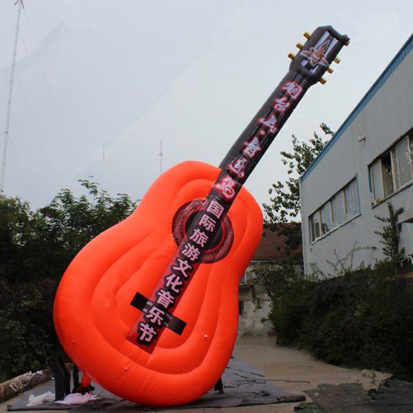 Guitarra inflable gigante de la etapa 3m / 10m para el evento musical / el concierto con la impresión