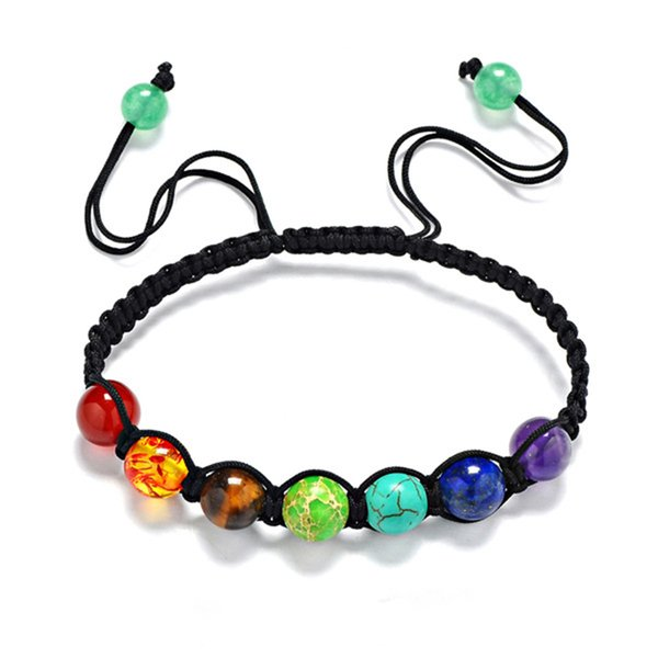Wholesale-Muti-color Chakra Beads Bracelets Adjustable Braided Rope Healing Turquoise Bracelet for Men Women Reiki Prayer Stones Arm Cuff