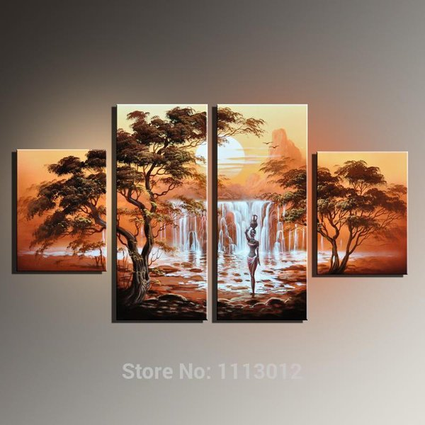 Sans cadre Vente À La Main Peinture À L'huile Sur Toile Africain Nue Femmes Moderne 4 Pièce Mur Art Décoration Photo Pour Le Salon