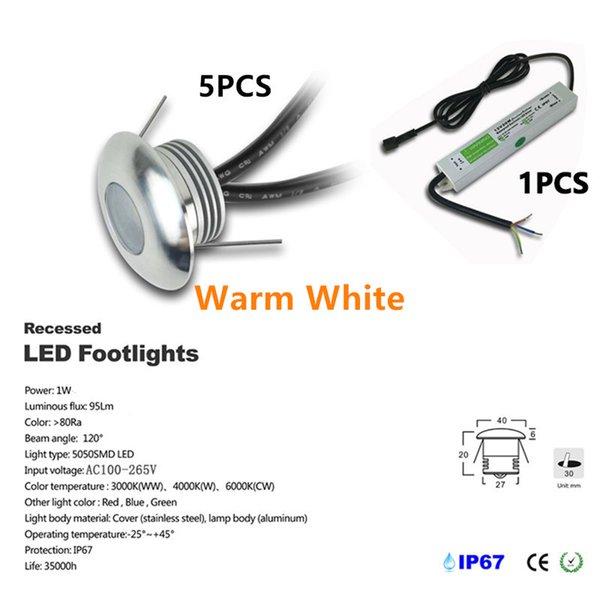 5pcs / set Warm White