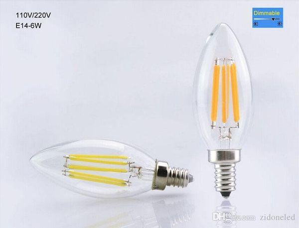 Dimmable Led Bulb Candle Light E14 edison LED bulbs 2w/4w/6w Filament retro Bulb AC110-240V Led Lamp Indoor Lighting