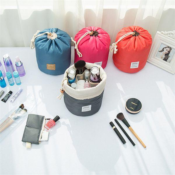 Novo Coreano elegante grande capacidade Barril Shaped Nylon Wash Armazenamento Organizador de Viagem Bolsa de Maquiagem Cosméticos Saco de Maquiagem Para As Mulheres IB098