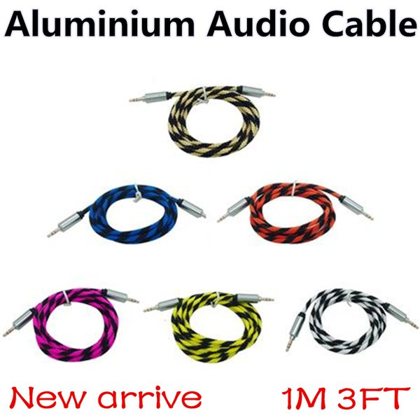 New Braided Aluminium 3.5mm Stereo Auxiliary Aux Cord Jack male Car Extension Audio Cable 1M 3ft for iphone Samsung MP3 Speaker Computer